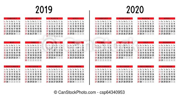 Semaines Calendrier 2020.Calendrier 2020 2019