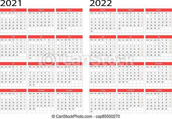Grille Calendrier 2022 Calendrier, 2022, année, 2021. Calendrier, 2022, 2021, vecteur