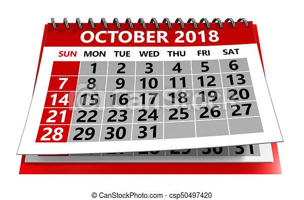 Illustration Calendrier.Calendrier Octobre 2018