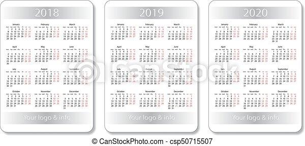 Calendrier De Poche 2019.Calendrier Set Poche 2020 Vecteur Conception Years 2019 Blanc 2018 Template