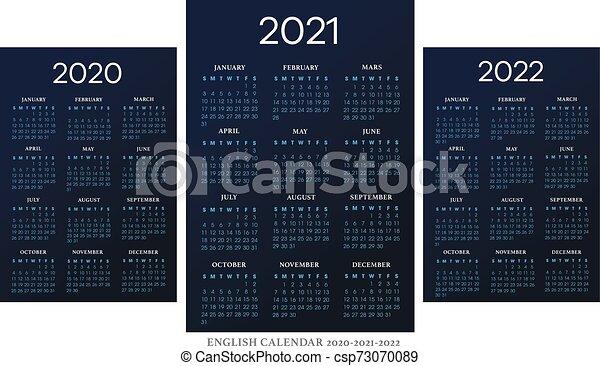 Calendrier 2021 2022 Garde Classique Calendrier, vecteur, 2010 2021 2022, gabarit, anglaise. Contour