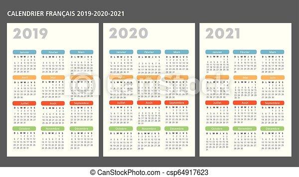 Calendrier, vecteur, 2019 2020 2021, francais, gabarit. 2019 2020