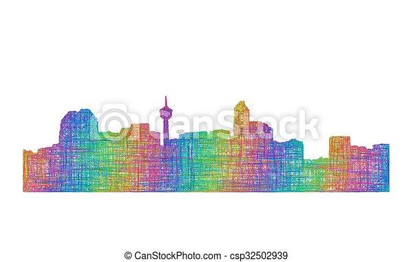 Calgary skyline silhouette - multicolor line art - csp32502939