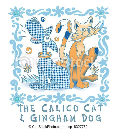 Calico Cat & Ghingman Dog, Vector - csp18327759