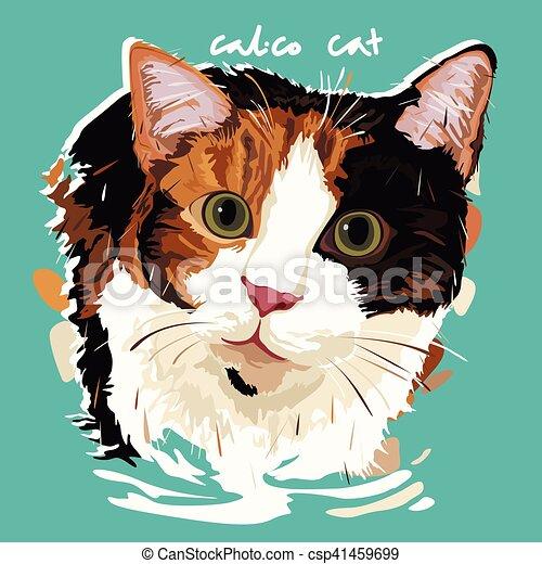 Calico Cat Painting Poster - csp41459699