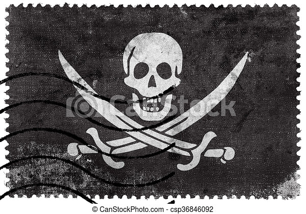 Calico Jack Pirate Flag, old postage stamp - csp36846092