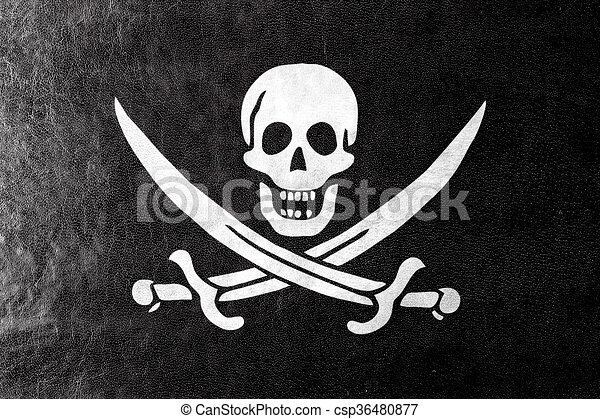 Calico Jack Pirate Flag, painted on leather texture - csp36480877