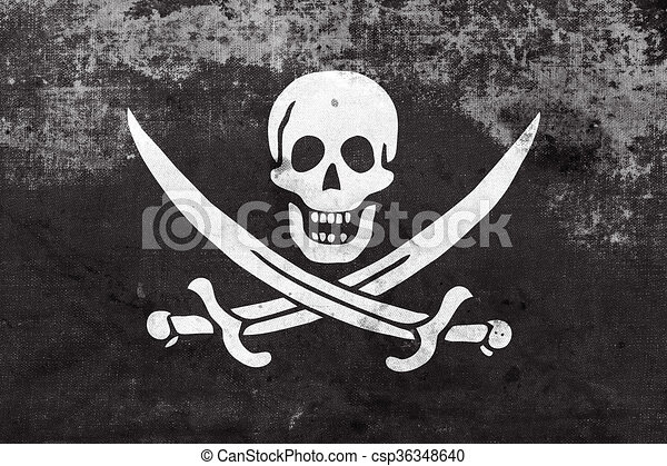 Calico Jack Pirate Flag with a vintage and old look - csp36348640