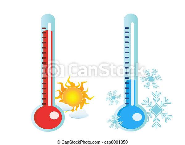 caliente, frío, temperatura, termómetro - csp6001350