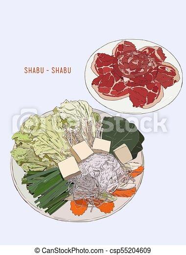 Sukiyaki caliente, shabu. Diseño de ilustración. - csp55204609