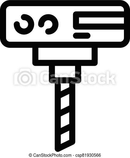 calificador, icono, contorno, estilo, maquinaria, se apiñar - csp81930566