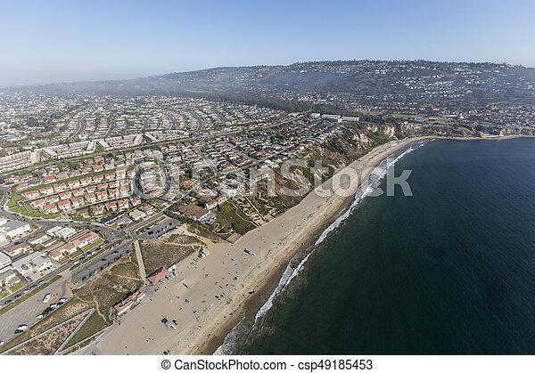 California Coast Aerial Torrance Beach and Rancho Palos Verdes - csp49185453