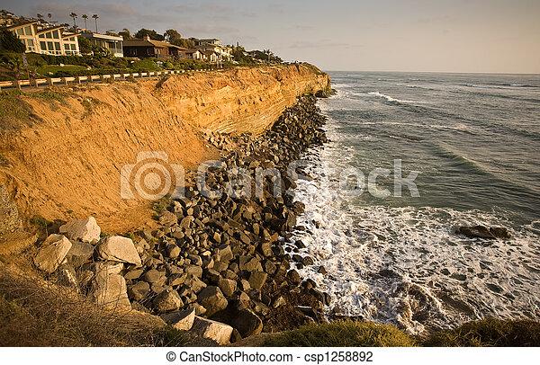 California Coastal Cliffs and house - csp1258892