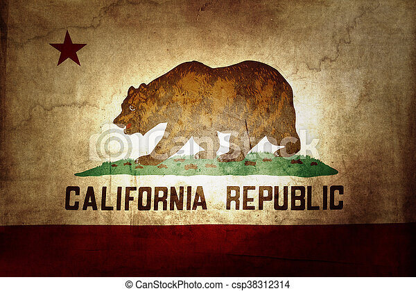Closeup Of Grunge California Flag