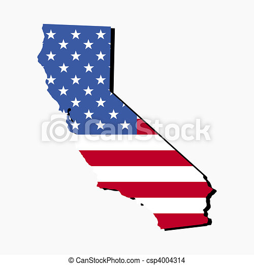 California map flag Map of the state of california and drawing
