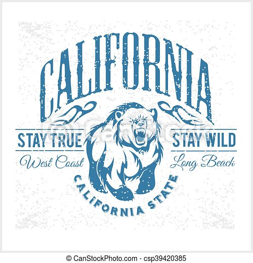 California Republic vintage typography with a grizzly Bear - csp39420385