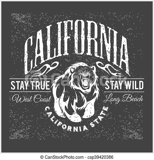California Republic vintage typography with a grizzly Bear - csp39420386