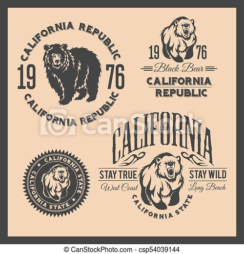 California Republic vintage typography with a grizzly Bear - csp54039144