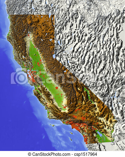 California shaded relief map California shaded relief drawing