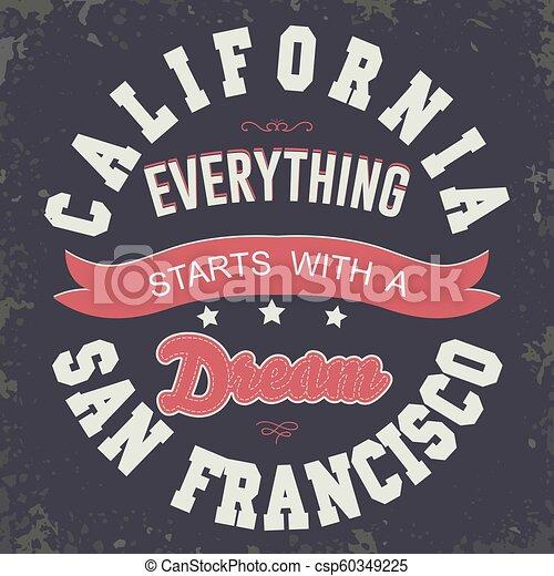e0f4f085 California sport t-shirt typography design. California sport wear t ...