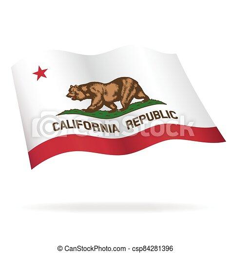 California state flag flying waving vector - csp84281396