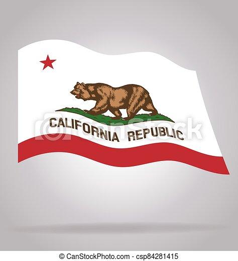 california state flag flying waving vector - csp84281415