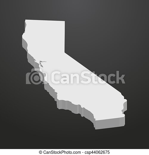 California Map Icon.California State Map In Gray On A Black Background 3d