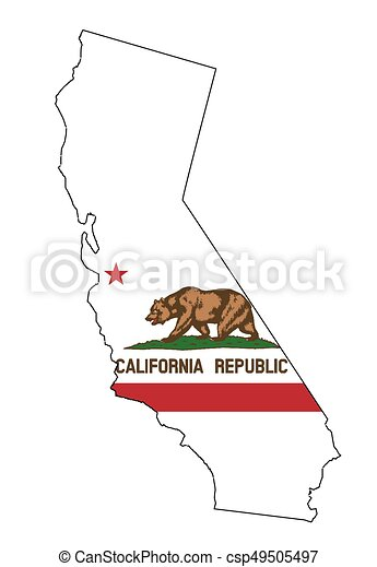 California State Outline Map And Flag State Map Outline Of Eps - State outline map
