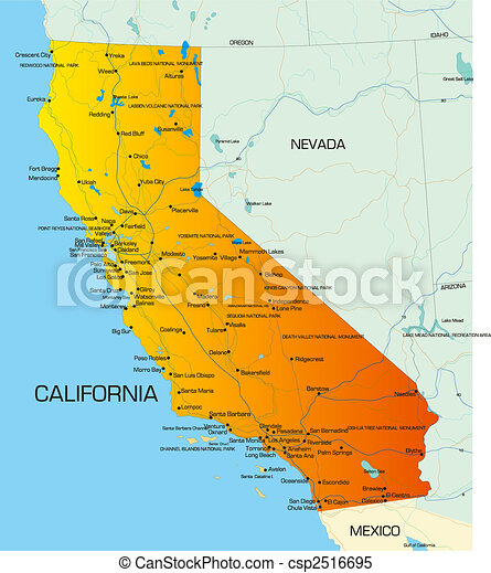 Mapa De Color Estado California Estados Unidos De América - Mapa de california
