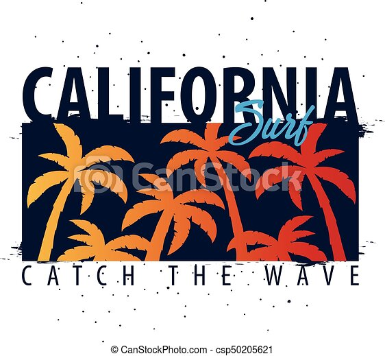 california surfing graphic with palms t shirt design and print