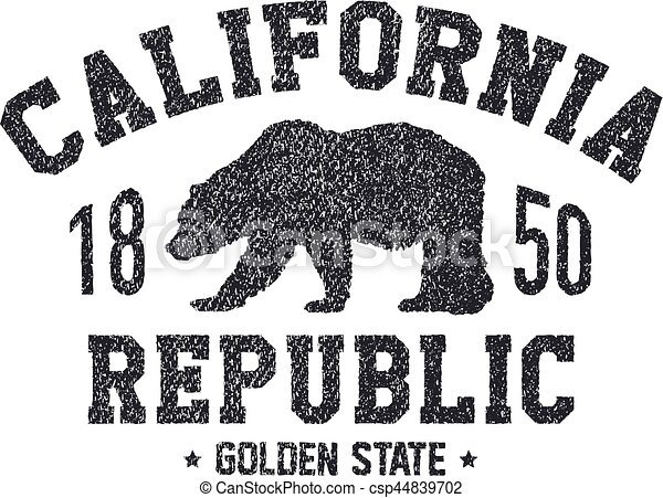 California T Shirt With Grizzly Bear Graphics Design Print Vector Illustration