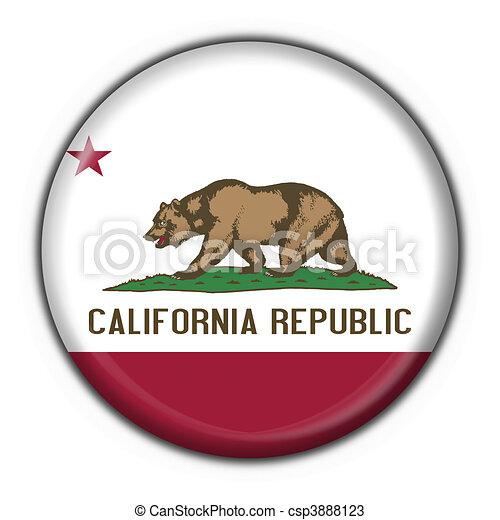 California USA State Button Flag Round Shape