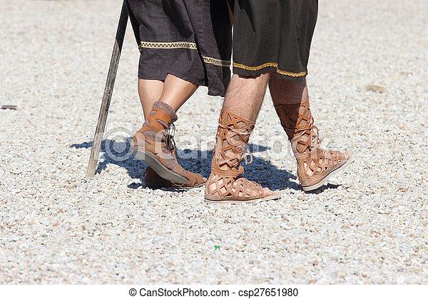 caligae ancient roman shoes - csp27651980