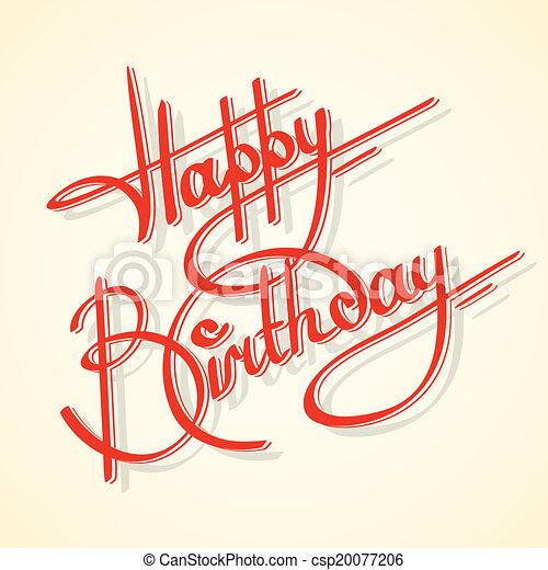 caligrafia, aniversário, feliz - csp20077206