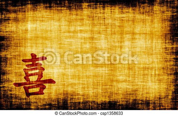 caligrafia, -, chinês, felicidade - csp1358633