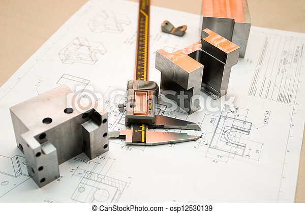 Caliper and finished parts on drawing - csp12530139
