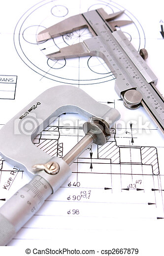 Caliper and Micrometer on blueprint vertical - csp2667879