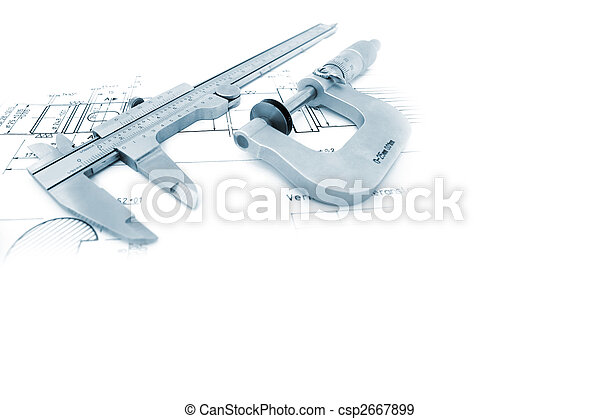 Caliper and Micrometer on blueprint with copyspace - csp2667899
