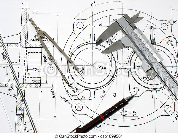 Caliper, compass, ruler and pencil on technical drawing - csp1899561