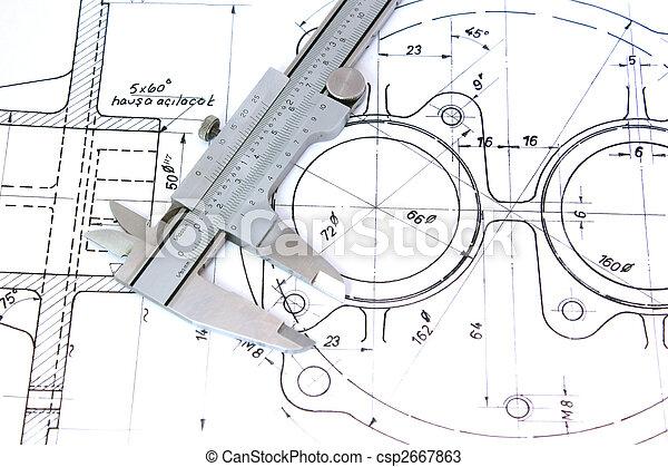Caliper on Blueprint. Horizontal. - csp2667863