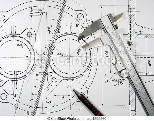 Caliper, ruler and pencil on technical drawings - csp1899560