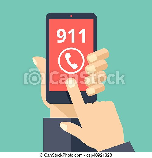 call 911 emergency call concept hand holding smartphone finger rh canstockphoto com Call 911 Now Call for Help Clip Art