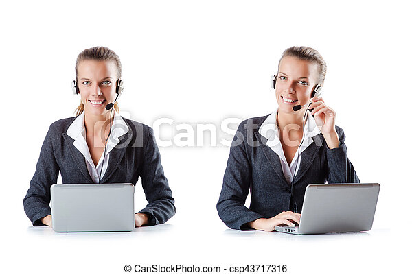 Call center assistant responding to calls - csp43717316