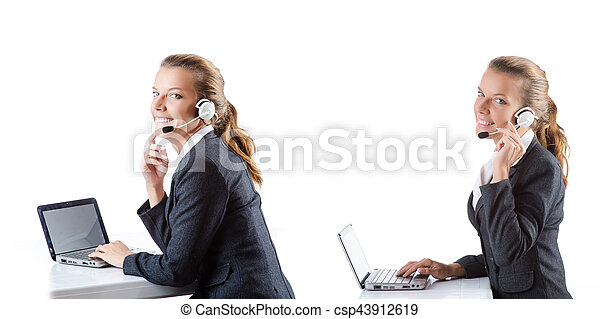 Call center assistant responding to calls - csp43912619