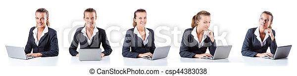 Call center assistant responding to calls - csp44383038