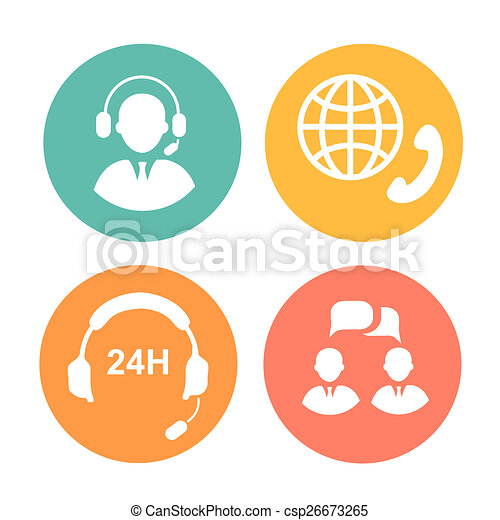 call center icons of operator and headset - csp26673265