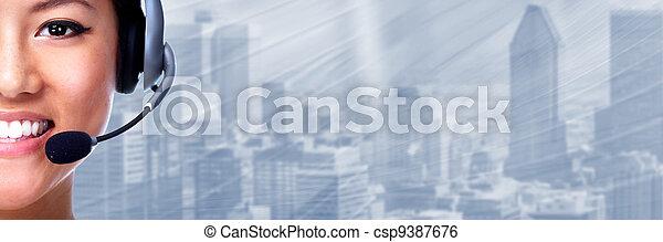 Call center operator woman. - csp9387676