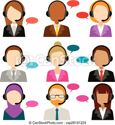 Call Center Service Diversity Icons - csp28191224