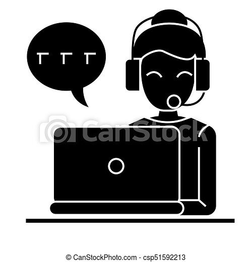 call center - woman laptop headset icon, vector illustration, black sign on  isolated background