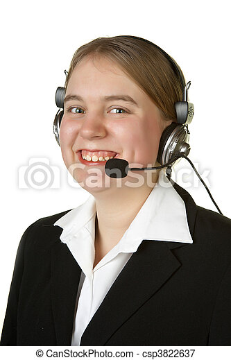 call center worker on white - csp3822637